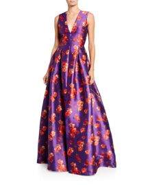 Sachin  amp  Babi Brook Floral V-Neck Sleeveless Twill Ball Gown at Neiman Marcus
