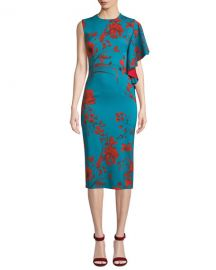 Sachin  amp  Babi Noir April Floral Dress w  One Draped Sleeve at Neiman Marcus
