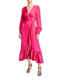 Sachin  amp  Babi Ruby V-Neck Blouson-Sleeve High-Low Ruffle Dress at Neiman Marcus