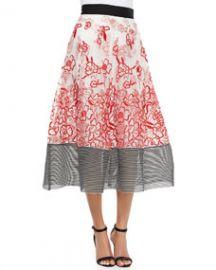 Sachin and Babi Noir Embroidered Floral Midi Ball Skirt at Neiman Marcus