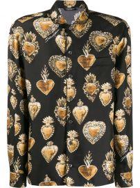 Sacred Heart-print silk shirt at Farfetch