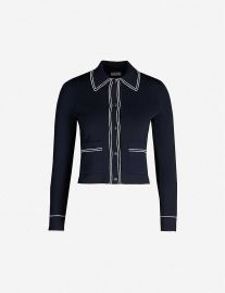 Sailor Piped-Trim Knitted Cardigan by Sandro at Selfridges