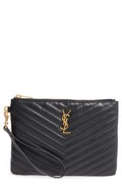 Saint Laurent   x27 Small Monogram  x27  Print Leather Wristlet   Nordstrom at Nordstrom