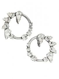 Saint Laurent - Smoking Creole Strass Silvertone Crystal Hoop Clip-On Earrings at Saks Fifth Avenue