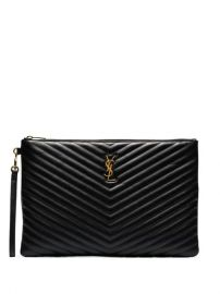 Saint Laurent Black Large Monogram Leather Document Holder - Farfetch at Farfetch