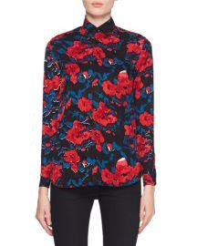 Saint Laurent Button-Front Floral-Jacquard Silk Classic Blouse at Neiman Marcus