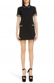 Saint Laurent Crystal Trim Wool Shift Dress   Nordstrom at Nordstrom