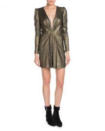 Saint Laurent Deep-V Long-Sleeve Gathered Metallic Silk Cocktail Dress at Neiman Marcus