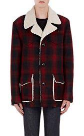 Saint Laurent Faux-Shearling-Lined Plaid Coat at Barneys Warehouse