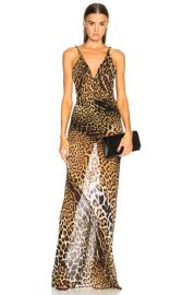 Saint Laurent Georgette Leopard Print Gown in Natural   FWRD at Forward