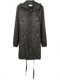Saint Laurent Leopard Print Hooded Parka  - Farfetch at Farfetch
