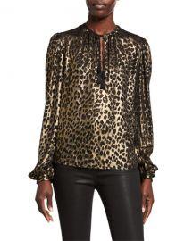 Saint Laurent Leopard-Print Long-Sleeve V-Neck Blouse at Neiman Marcus