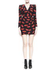 Saint Laurent Lips Long-Sleeve Crossover Dress at Neiman Marcus