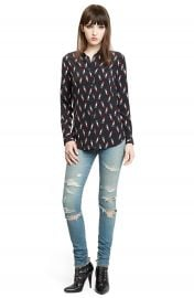 Saint Laurent Lipstick Print Silk Blouse   Nordstrom at Nordstrom