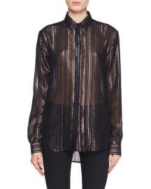 Saint Laurent Long-Sleeve Multicolor Metallic-Striped Blouse at Neiman Marcus