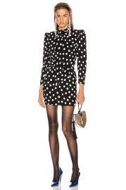 Saint Laurent Long Sleeve Polka Dots Mini Dress in Black   White   FWRD at Forward