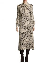 Saint Laurent Long-Sleeve Tie-Neck Floral-Print Shirtdress  Black Vanilla at Neiman Marcus