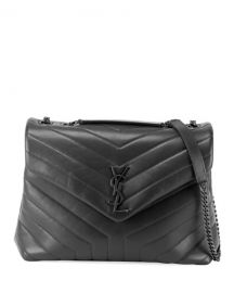 Saint Laurent Loulou Medium YSL Monogram Matelasse Calfskin Shoulder Bag at Neiman Marcus