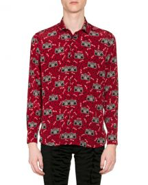 Saint Laurent Men  x27 s Radio-Print Long-Sleeve Silk Sport Shirt at Neiman Marcus