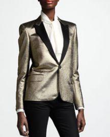 Saint Laurent Metallic One-Button Blazer  Gold at Neiman Marcus