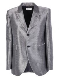 Saint Laurent Metallic Textured Blazer at Cettire