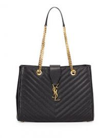 Saint Laurent Monogram Matelasse Shopper Bag Black at Neiman Marcus