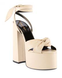 Saint Laurent Paige Knotted Platform Sandals at Neiman Marcus