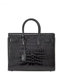 Saint Laurent Sac de Jour Small Shiny Croco Effect Satchel Bag at Neiman Marcus