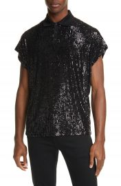 Saint Laurent Sequin Short Sleeve Polo   Nordstrom at Nordstrom