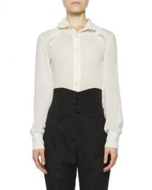 Saint Laurent Sheer Chiffon Pointed Collar Blouse at Neiman Marcus