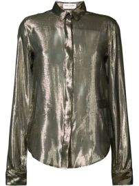 Saint Laurent Sheer Metallic Blouse - Farfetch at Farfetch