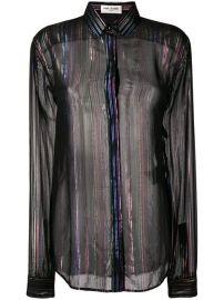 Saint Laurent Sheer Striped long-sleeve Shirt - Farfetch at Farfetch