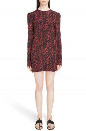 Saint Laurent Silk Cr  pe de Chine Leopard Print Shift Dress at Nordstrom
