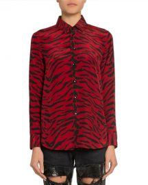 Saint Laurent Zebra-Print Long-Sleeve Blouse at Neiman Marcus