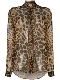 Saint Laurent tie-neck leopard-print Blouse - Farfetch at Farfetch
