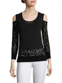 Saks Fifth Avenue Collection - Lace Burnout Cold-Shoulder Top at Saks Fifth Avenue
