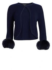 Saks Fifth Avenue - COLLECTION Cashmere Cropped Fox Fur Cuff Cardigan at Saks Fifth Avenue