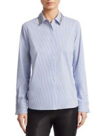 Saks Fifth Avenue - COLLECTION Embellished Collar Poplin Shirt at Saks Fifth Avenue