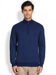 Saks Fifth Avenue Black Label - Half-Zip Jacquard Cashmere Sweater at Saks Fifth Avenue