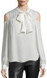 Saks Fifth Avenue Collection - Silk Cold-Shoulder Tie-Neck Blouse Ivory at Saks Fifth Avenue