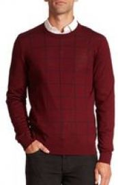Saks Fifth Avenue Collection Graphic Check Merino Wool Sweater at Saks Fifth Avenue