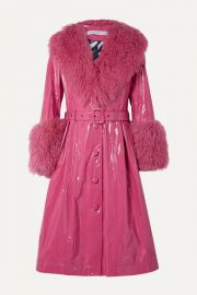 Saks Potts - Foxy neon belted shearling-trimmed patent-leather coat at Net A Porter