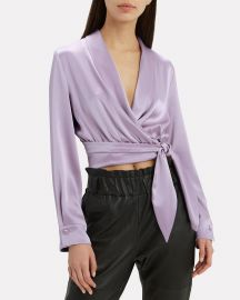 Salome Satin Wrap Crop Top at Intermix