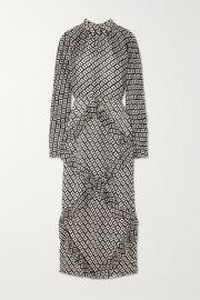 Saloni - Alek ruffled devor   chiffon midi dress at Net A Porter