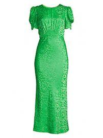 Saloni - Bianca Silk Jacquard Puff Sleeve Midi Sheath Dress at Saks Fifth Avenue
