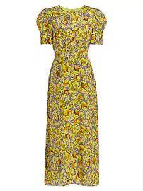 Saloni - Bianca Silk Midi Dress at Saks Fifth Avenue