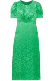 Saloni - Bianca silk-satin jacquard midi dress at Net A Porter