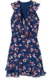 Saloni   Cece ruffled floral-print silk-chiffon mini dress at Net A Porter