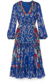 Saloni - Devon ruffled floral-print silk-chiffon midi dress at Net A Porter
