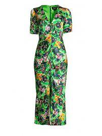 Saloni - Eden V-Neck Silk Dress at Saks Fifth Avenue